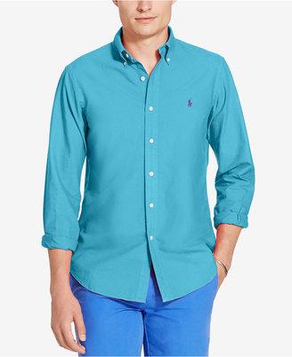 Polo Ralph Lauren Men's Slim Fit Garment Dyed Long-Sleeve Shirt $89.50 thestylecure.com