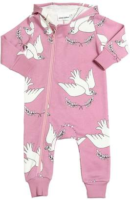 Mini Rodini Doves Organic Cotton Sweatshirt Romper