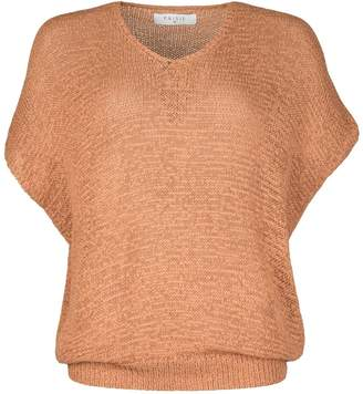 PAISIE - Tan Loose Knit V-Neck Top