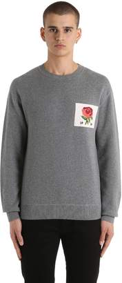 Kent & Curwen Rose Patch Wool Blend Sweater