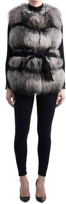 Gorski Belted Fox-Fur Vest with Cashmere Inserts