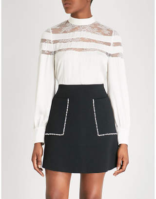 Sandro Pussy-bow lace-panelled satin blouse