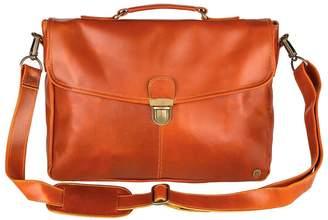 Buffalo David Bitton Mahi Leather Leather Yale Clip-Up Satchel Briefcase Bag In Tan
