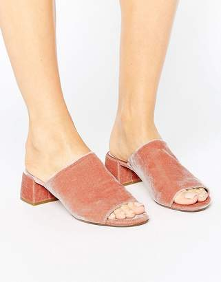 Dune London Blush Velvet Heeled Mules