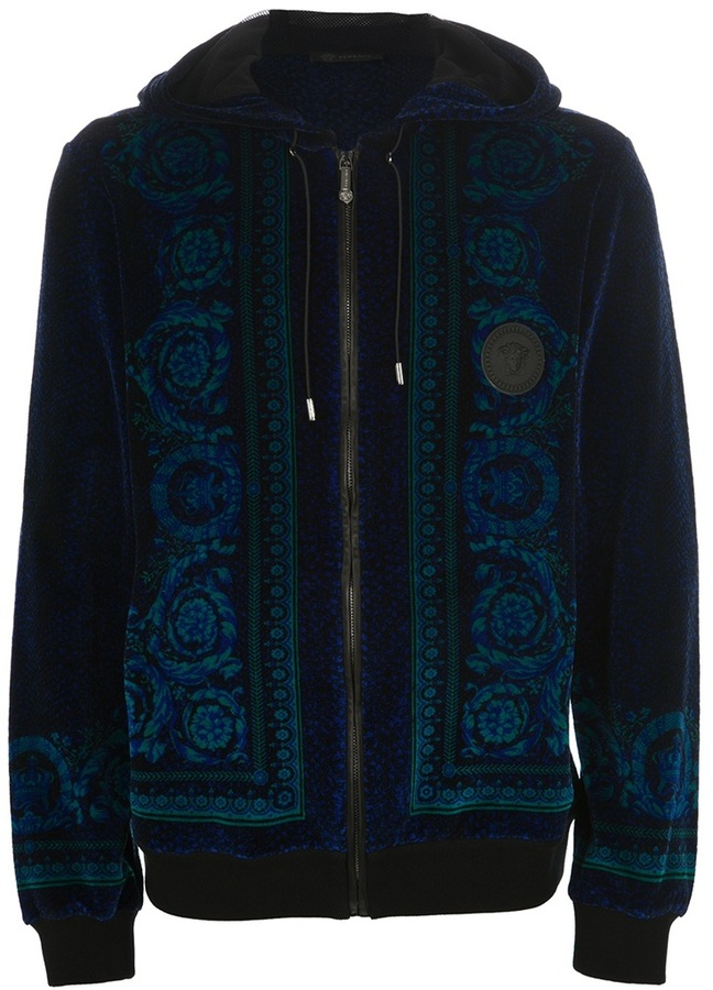 Versace Baroque print velour hoodie