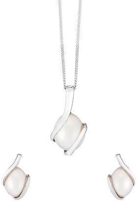 9ct White Gold & Pearl Knot Design Earring & Pendant Set