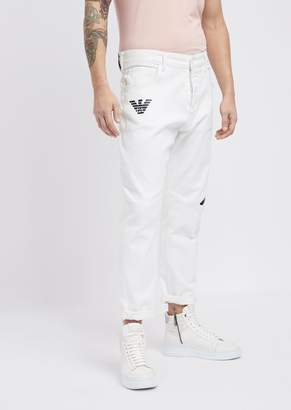 Emporio Armani Loose-Fit J04 Stretch Bull Cotton Jeans With Logo Prints