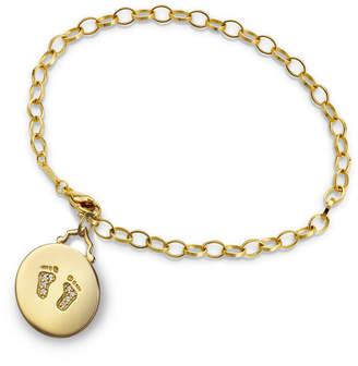 Monica Rich Kosann 18k Yellow Gold Small Baby Feet Charm Bracelet w/ Diamonds