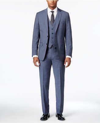 Calvin Klein Men's Big & Tall Extra-Slim Fit Light Blue Neat Vested Suit $750 thestylecure.com