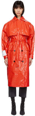 MSGM Red Plastic Trench Coat