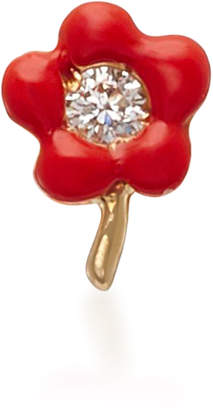 "Alison Lou 14K Gold"" Enamel and Diamond Flower Single Earring"