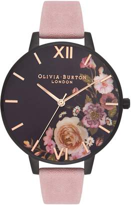 Olivia Burton After Dark Leather Strap Watch, 38mm