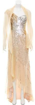 Terani Couture Silk Embellished Gown w/ Tags