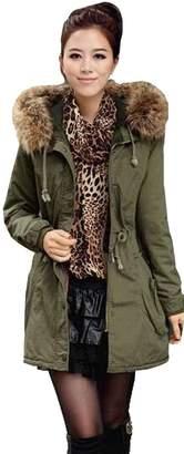 Tasatific Womens Parka Jacket Hooded Winter Coats Faux Fur Outdoor Outwear M