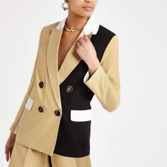 931ecd0411 River Island Womens Light Brown block double breasted blazer