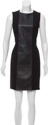 Akris Punto Leather-Paneled Mini Dress