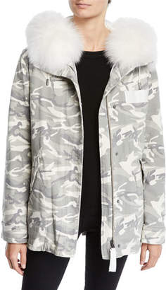 Yves Salomon Army Slim Reversible Camo & Fur Puffer Jacket