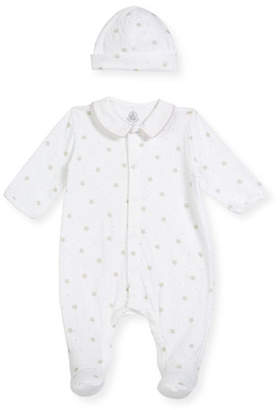 Petit Bateau Star-Print Collared Footed Coverall w/ Baby Hat, Size Newborn-9 Months