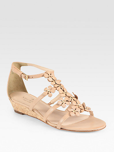 Kate Spade Vikki Leather Cork Wedge Sandals