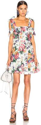 Zimmermann Allia Tie Dress in White Floral   FWRD