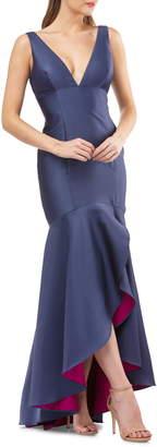 Carmen Marc Valvo Satin High/Low Evening Dress