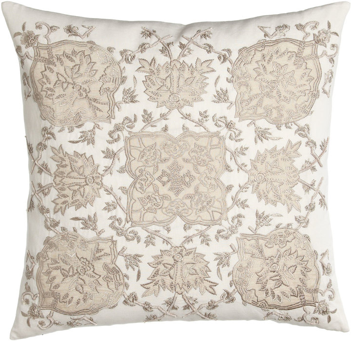 "Callisto Callisto Home Avalon Square Pillow with Cream Ground, 22""Sq."