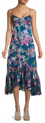 Saloni Inga Silk Ruffle Hem Dress