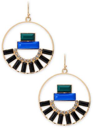 "Thalia Sodi Medium 1.5"" Gold-Tone Crystal & Stone Drop Hoop Earrings, Created for Macy's"