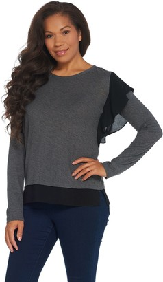 Vince Camuto Long-Sleeve Ruffle Side Cotton Modal Slub Knit Top