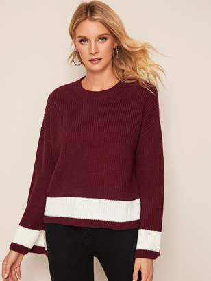 Shein Colorblock Split Drop Shoulder Sleeve Sweater