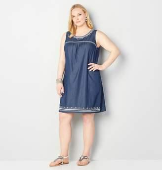 Avenue Denim Embroidered A-Line Dress