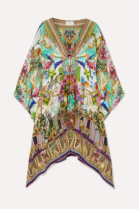 Camilla Embellished Printed Silk Crepe De Chine Kaftan - Mint