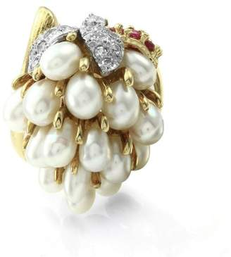 Rubie's Costume Co 18k Yellow Gold Pearl Grape Cluster Diamonds and Ring Size 5