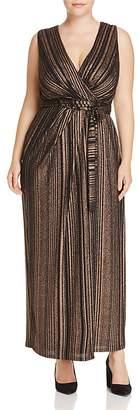 City Chic Metallic Stripe Wrap Maxi Dress - 100% Exclusive