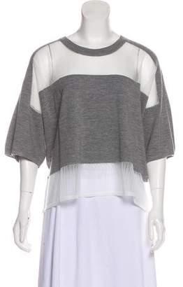 Public School Mesh-Trimmed Short Sleeve Top