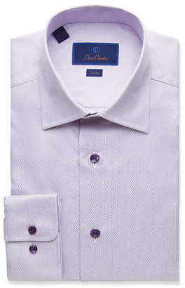 David Donahue Men's Trim-Fit Textured Dress Shirt