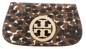 Tory Burch Canvas Amanda Clutch - BROWN - STYLE