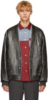 Kenzo Black Leather Cardigan Jacket