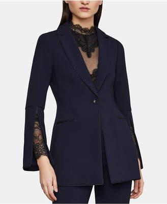 BCBGMAXAZRIA Faux-Leather-Trim Split-Sleeve Blazer