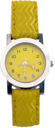 Vintage Yellow Textured Leather Band Watch