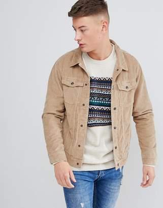 Pull&Bear Cord Jacket In Tan