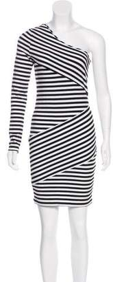 Torn By Ronny Kobo Striped One-Shoulder Dress