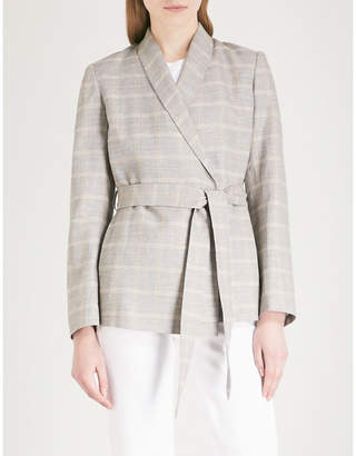 KITRI Camila checked cotton and linen-blend jacket