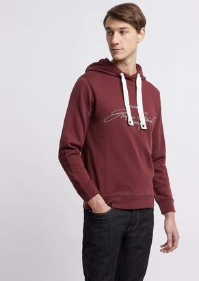 Emporio Armani Sweatshirt In Cotton French Terry With Branded Signature