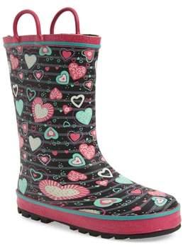 Western Chief Neon Hearts Glitter Trim Rain Boot