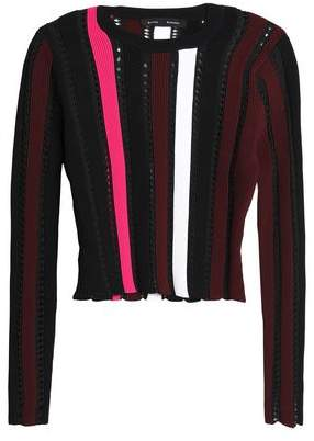 Proenza Schouler Striped Open And Ribbed-Knit Sweater