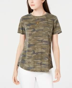 Ultra Flirt No Comment Ultraflirt Juniors' Camo-Printed Pocket T-Shirt