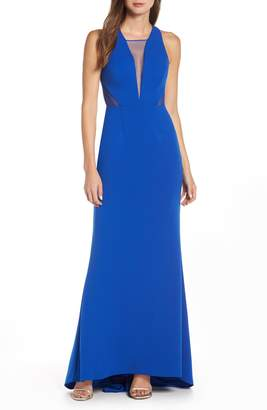 Adrianna Papell Lola Crossback Jersey Halter Gown