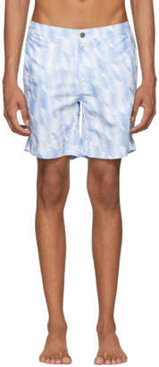 Onia White and Blue Diamond Chevron Calder Swim Shorts
