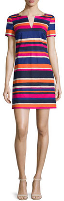 Trina Turk Short-Sleeve Striped Cotton-Stretch Dress $298 thestylecure.com